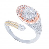 3-Tone Plated With CZ Cubic Zirconia Adjustable Rings