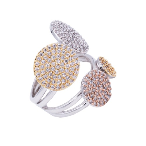 Three Tone Plated With Fine Cubic Zirconia Rings