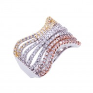 Tri-tone Plated with Cubic Zirconia Sized Rings