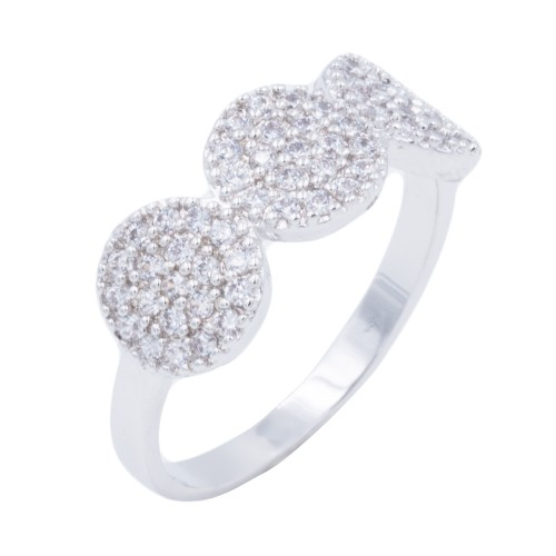 Rhodium Plated WIth CZ Cubic Zirconia Pave Sized Rings