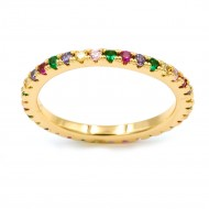 Gold Plated With Multi Color CZ Cubic Zirconia Eternity Rings