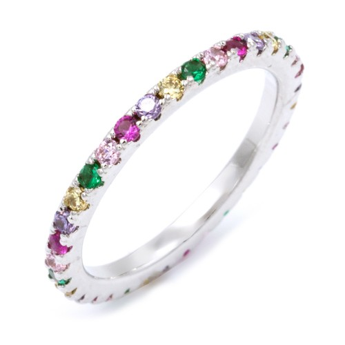 Rhoidum Plated With Multi Color CZ Cubic Zirconia Eternity Rings