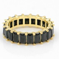 Gold Plated With Black CZ Cubic Zirconia Eternity Band Sized Rings