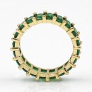 Gold Plated With Emreald Green CZ Cubic Zirconia Eternity Band Sized Rings