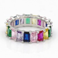 Rhodiuum plated With Mulit Color Cubic Zirconia Eternity Band Sized Rings