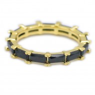 Gold Plated With Black Cubic Zirconia Eternity Sized Rings