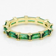 Gold Plated With Emreald Green CZ Cubic Zirconia Eternity Sized Rings