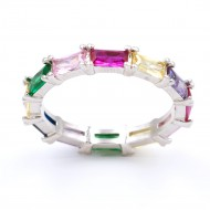 Rhodiuum plated With Mulit Color Cubic Zirconia Eternity Sized Rings