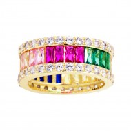 Gold Plated With Mulit Color CZ Cubic Zirconia Eternity Band Sized Rings