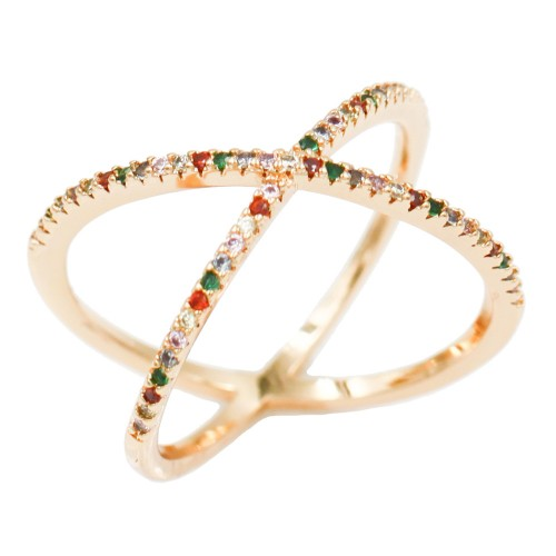 Gold Plated With Multi Color CZ Cubic Zirconia Criss Cross Rings