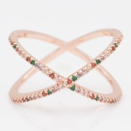 Rose Gold Plated With Multi Color CZ Cubic Zirconia Criss Cross Rings