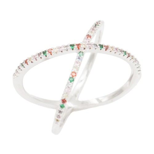 Rhoidum Plated With Multi Color CZ Cubic Zirconia Criss Cross Rings