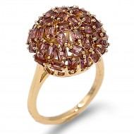 Gold Plated With Purple CZ Cubic Zirconia Ring Sized Rings
