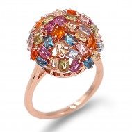 Rose Gold Plated With Multi Color CZ Cubic Zirconia Sized Rings