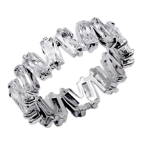 Rhodium Plated with Clear Color CZ Cubic Zirconia Eternity Rings