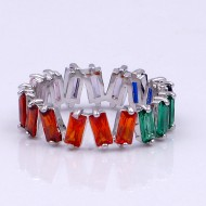 Rhodium Plated with Multi Color CZ Cubic Zirconia Eternity Rings