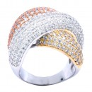 Three Tone Plated With CZ Cubic Zirconia Pave Sized Ring
