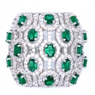 Rhodium Plated With Emerald Green CZ Cubic Zirconia Pave Sized Ring