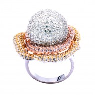 Three Tone Plated With CZ Pave Sized Ring