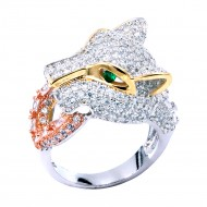 Three Tone Plated With CZ Cubic Zirconia Animal-Shaped Pave Sized Ring