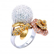 Three Tone Plated With CZ Cubic Zirconia Bee and Flower Shaped Pave Sized Ring