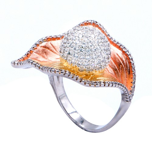 Three Tone Plated With CZ Cubic Zirconia Leaf-Shaped Pave Sized Ring