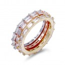 3 Tone Plated with 3 PCS Cubic Zirconia Ring