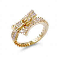 Gold Plated with Zipper Shape Cubic Zirconia Ring