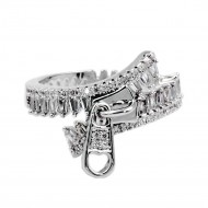 Rhodium Plated with Zipper Shape Cubic Zirconia Ring