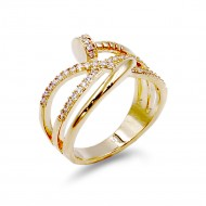 Gold Plated With Nail Shape Cubic Zirconia Ring