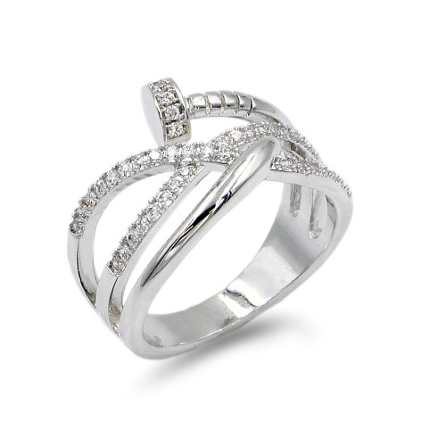 Rhodium Plated With Nail Shape Cubic Zirconia Ring
