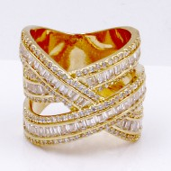 Gold Plated CZ Criss Cross Ring
