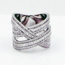 Rhodium Plated CZ Criss Cross Ring