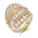 Rhodium Plated with Clear CZ Ring