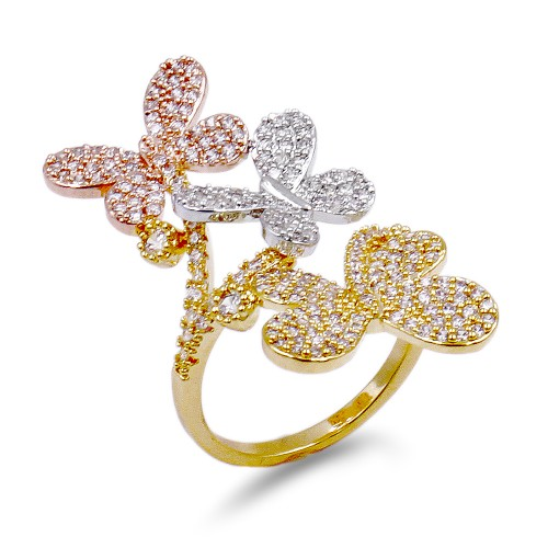 3-Tone Plated Butterfly with CZ Ring