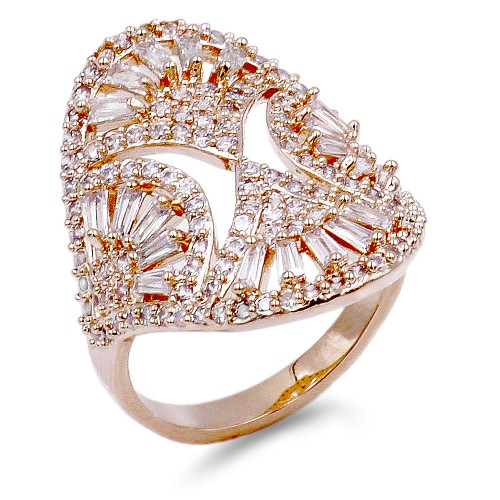 Rose Gold Plated with Clear CZ Ring
