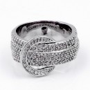 Rhodium Plated Buckle with CZ Ring