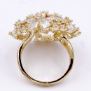 Gold Plated Flower Dome CZ Adjustable Ring