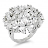 Rhodium Plated Flower Dome CZ Adjustable Ring