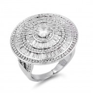 Rhodium Plated Halo with CZ Ring