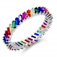 Rhodium Plated Multi Color with CZ Ring