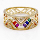Gold Plated Multi Color with CZ Ring