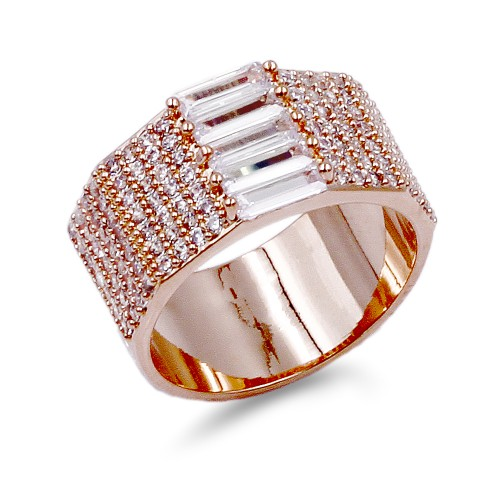 Rose Gold Plated With CZ Sized Rings. Size 9