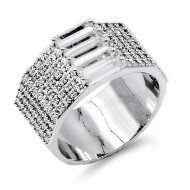 Rhodium Plated With CZ Sized Rings. Size 9