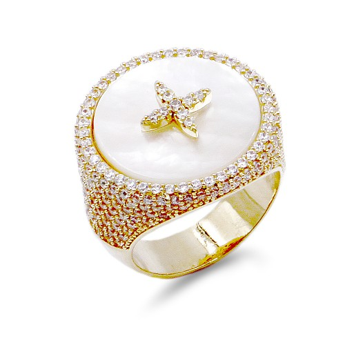 Gold Plated With MOP & CZ Sized Rings. Size 9