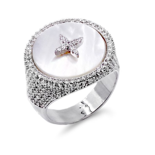 Rhodium Plated With MOP & CZ Sized Rings. Size 8