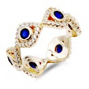 Gold Plated Evil Eye with Blue CZ stone