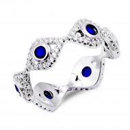 Rhodium Plated Evil Eye with Blue CZ stone