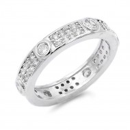 Rhodium Plated CZ Pave Ring
