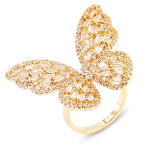 Gold Plated With Clear CZ Adjustable Butterfly Rings